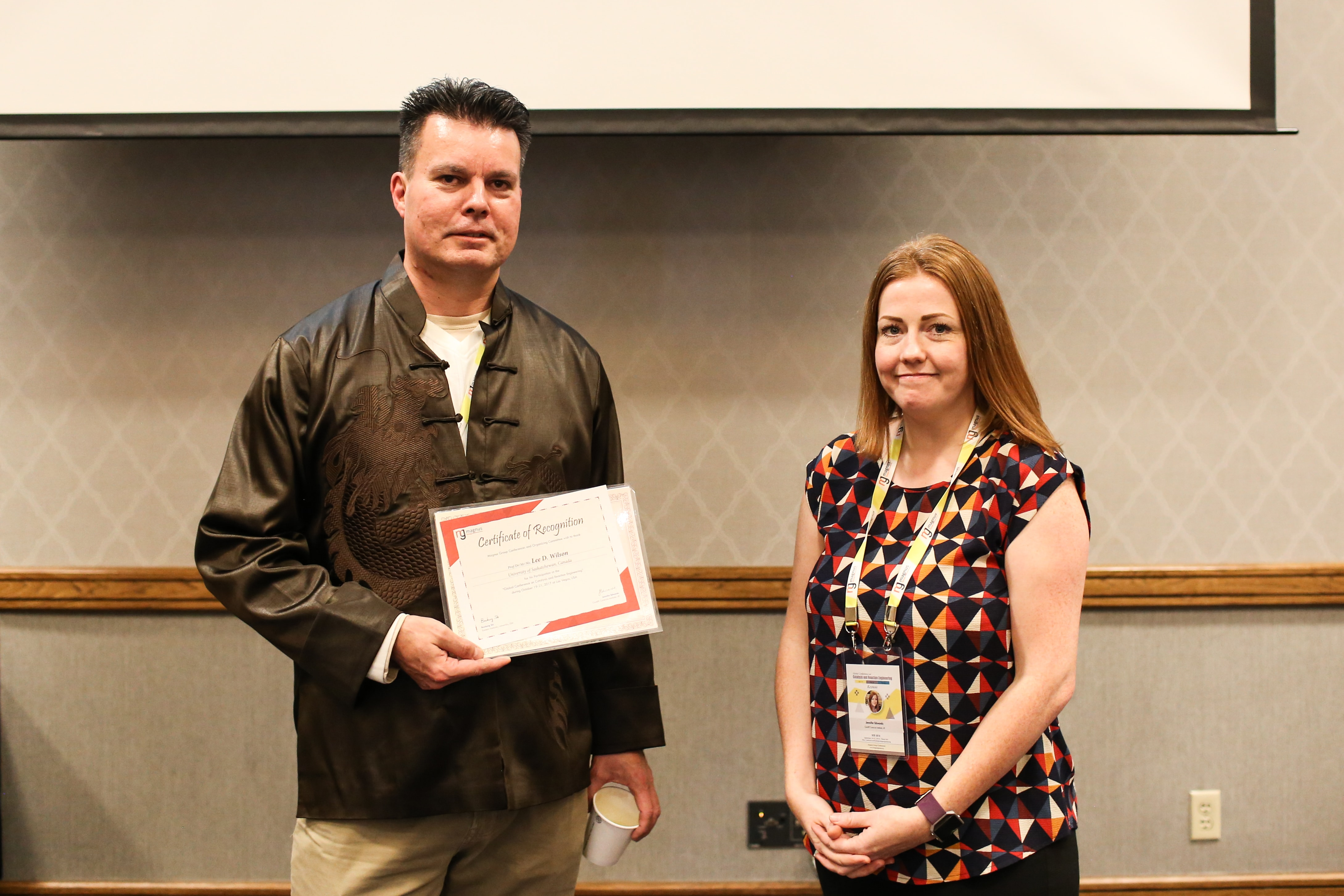 Lee D. Wilson felicitated by Jennifer Edwards
